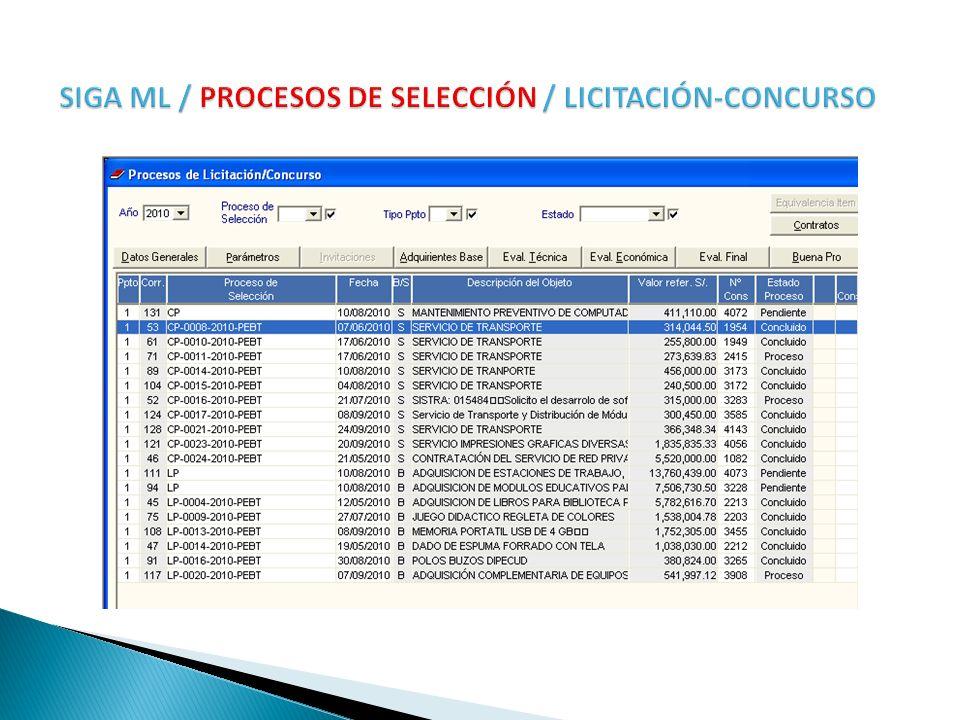 SIGA ML / PROCESOS DE SELECCIÓN / LICITACIÓN-CONCURSO