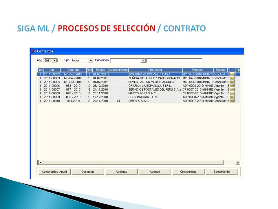 SIGA ML / PROCESOS DE SELECCIÓN / CONTRATO