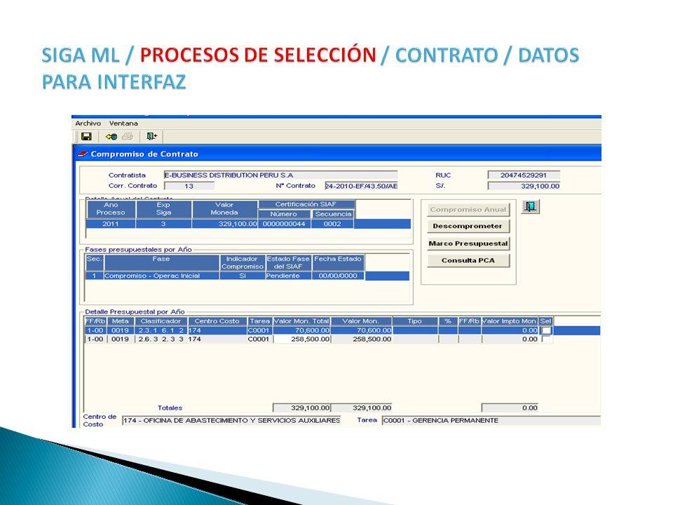 SIGA ML / PROCESOS DE SELECCIÓN / CONTRATO / DATOS PARA INTERFAZ