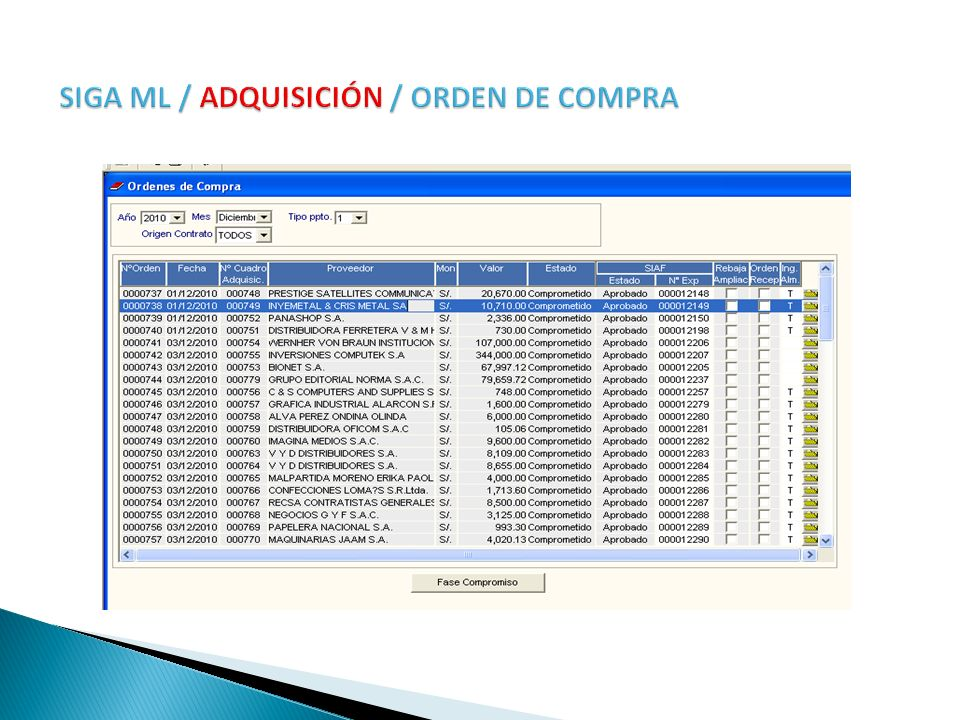 SIGA ML / ADQUISICIÓN / ORDEN DE COMPRA