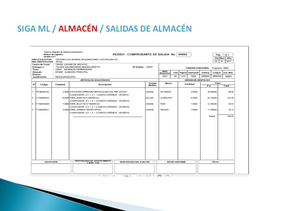 SIGA ML / ALMACÉN / SALIDAS DE ALMACÉN