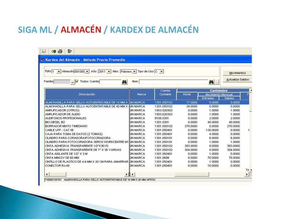 SIGA ML / ALMACÉN / KARDEX DE ALMACÉN
