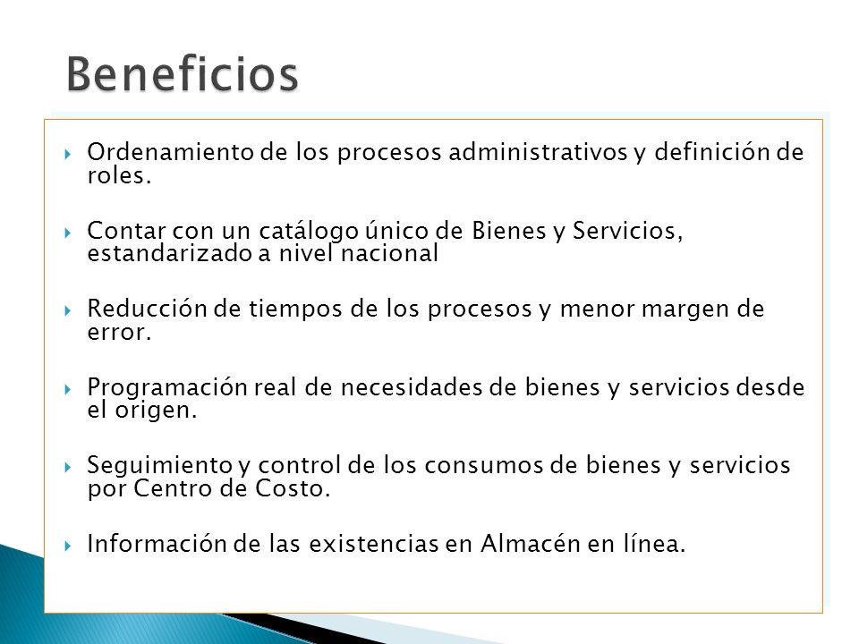 Beneficios Ordenamiento de los procesos administrativos y definición de roles.