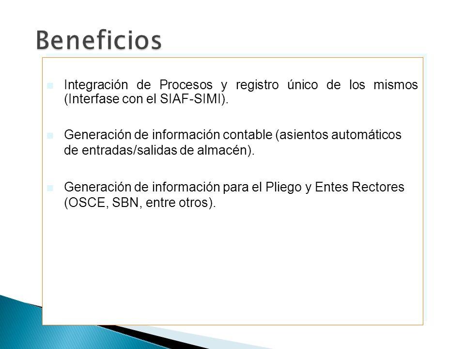 Beneficios Integración de Procesos y registro único de los mismos (Interfase con el SIAF-SIMI).