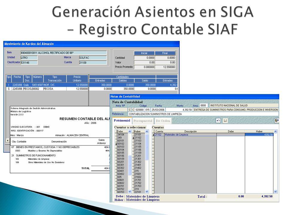 Generación Asientos en SIGA – Registro Contable SIAF