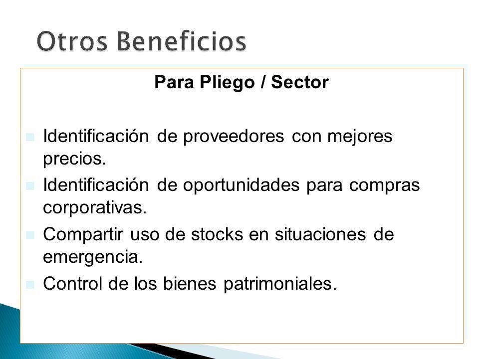Otros Beneficios Para Pliego / Sector