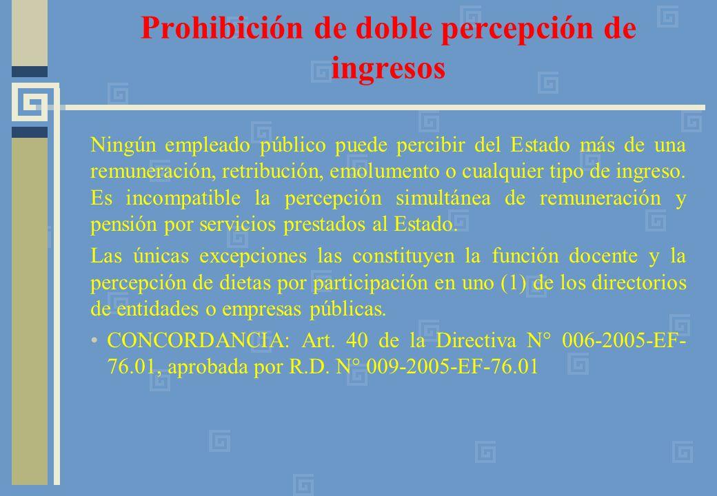 Prohibición de doble percepción de ingresos