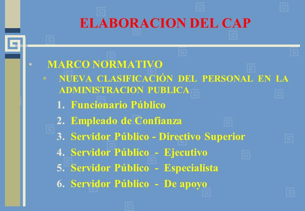 ELABORACION DEL CAP MARCO NORMATIVO Funcionario Público