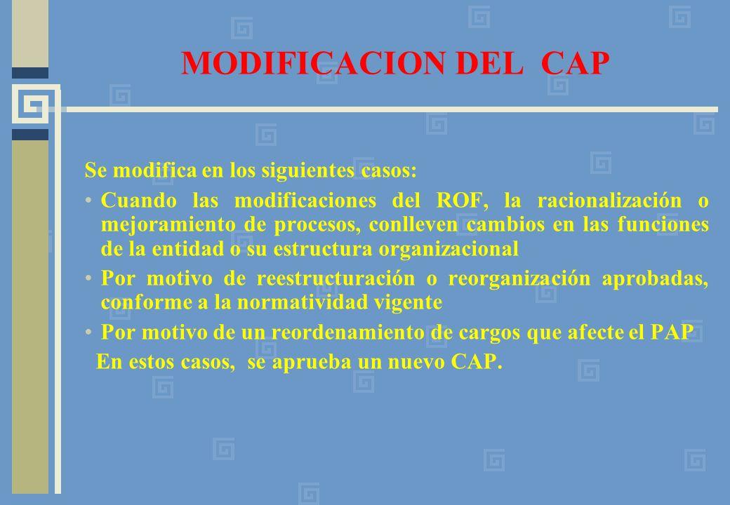 MODIFICACION DEL CAP Se modifica en los siguientes casos: