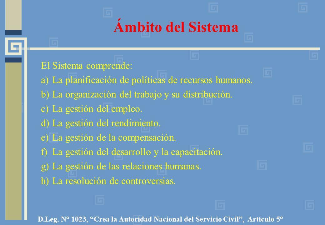 Ámbito del Sistema El Sistema comprende: