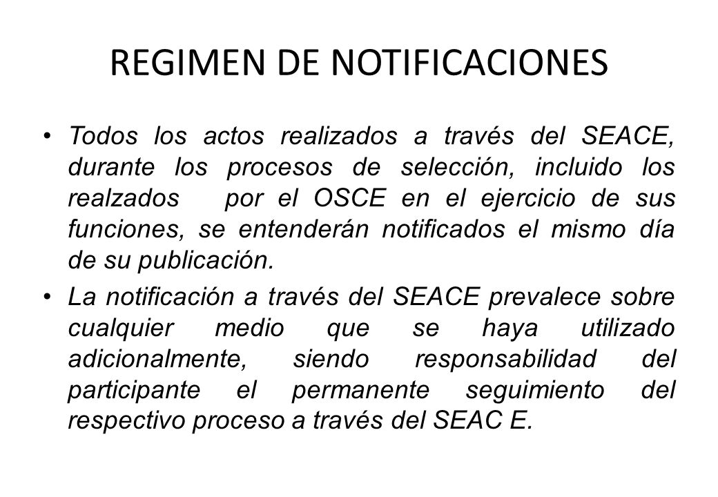 REGIMEN DE NOTIFICACIONES