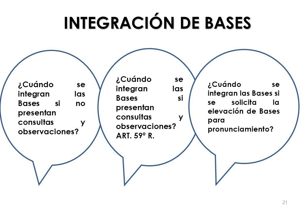 INTEGRACIÓN DE BASES ¿Cuándo se integran las Bases si no presentan consultas y observaciones