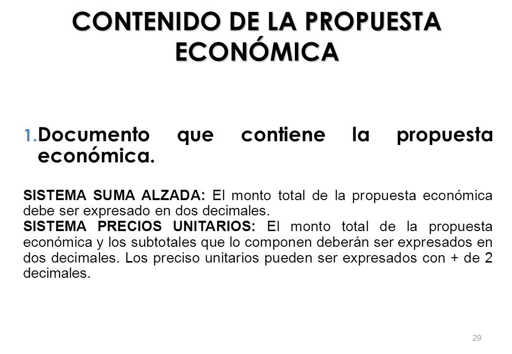 CONTENIDO DE LA PROPUESTA ECONÓMICA