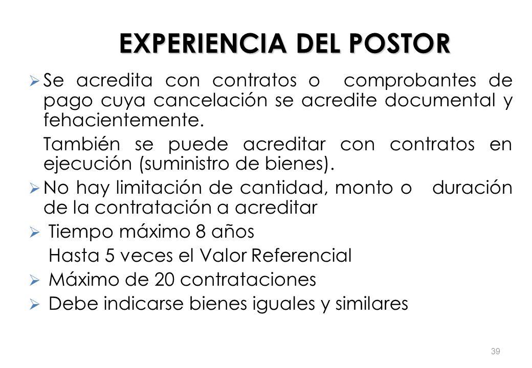 EXPERIENCIA DEL POSTOR