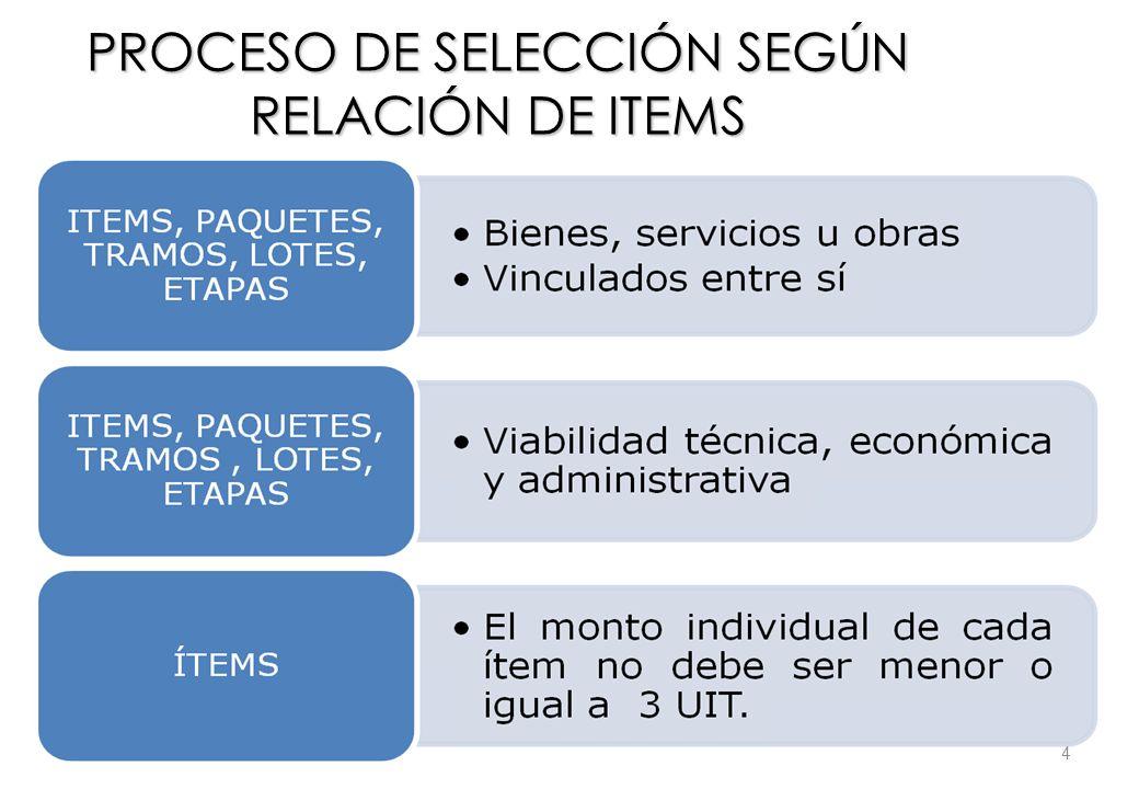 PROCESO DE SELECCIÓN SEGÚN RELACIÓN DE ITEMS