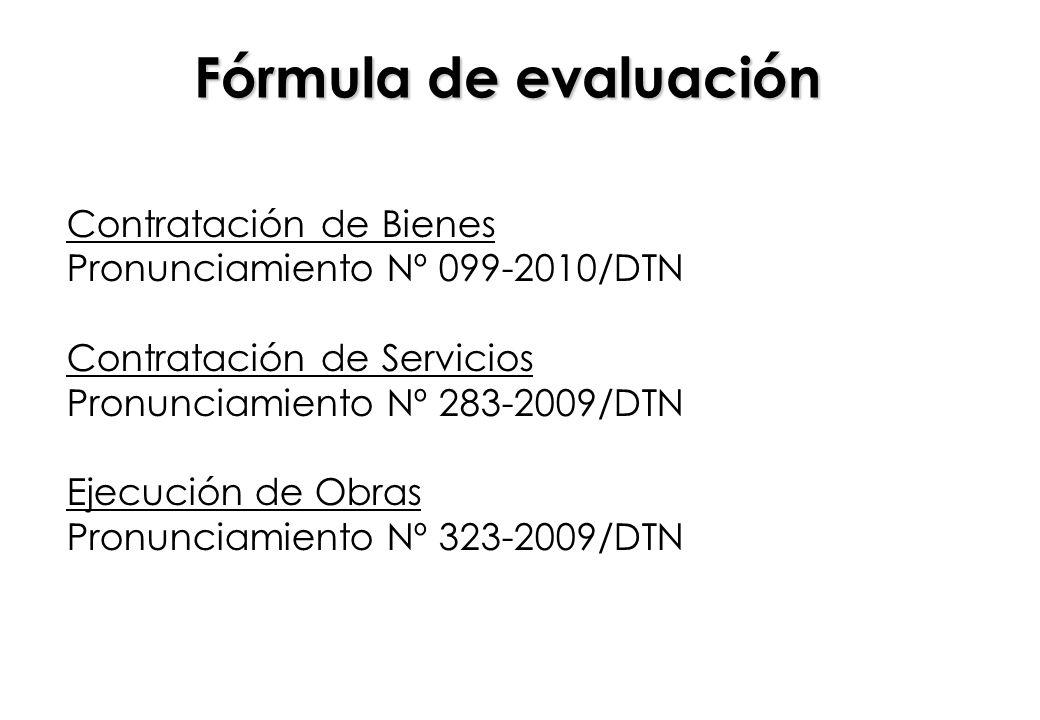 Fórmula de evaluación Contratación de Bienes