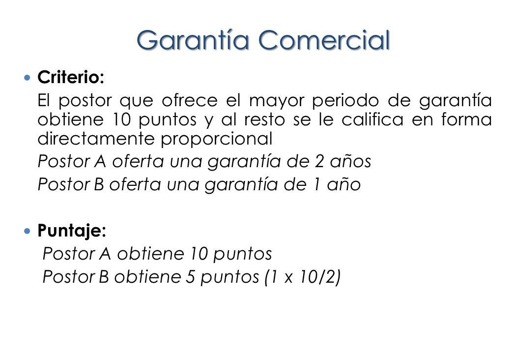 Garantía Comercial Criterio:
