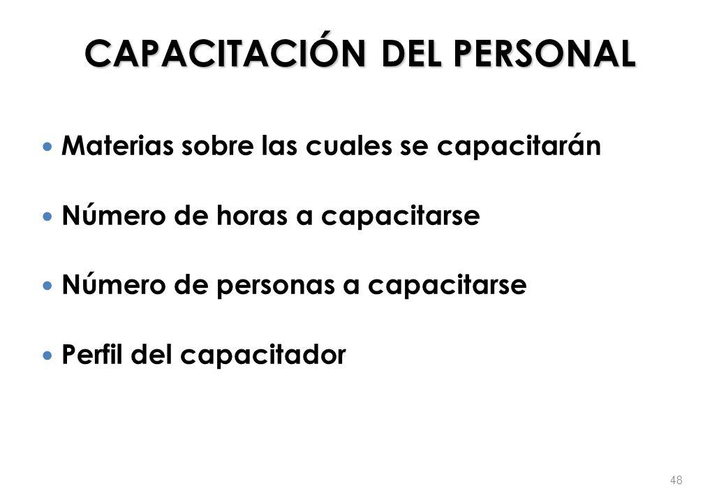 CAPACITACIÓN DEL PERSONAL