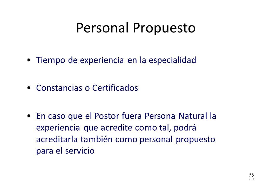 Personal Propuesto Tiempo de experiencia en la especialidad
