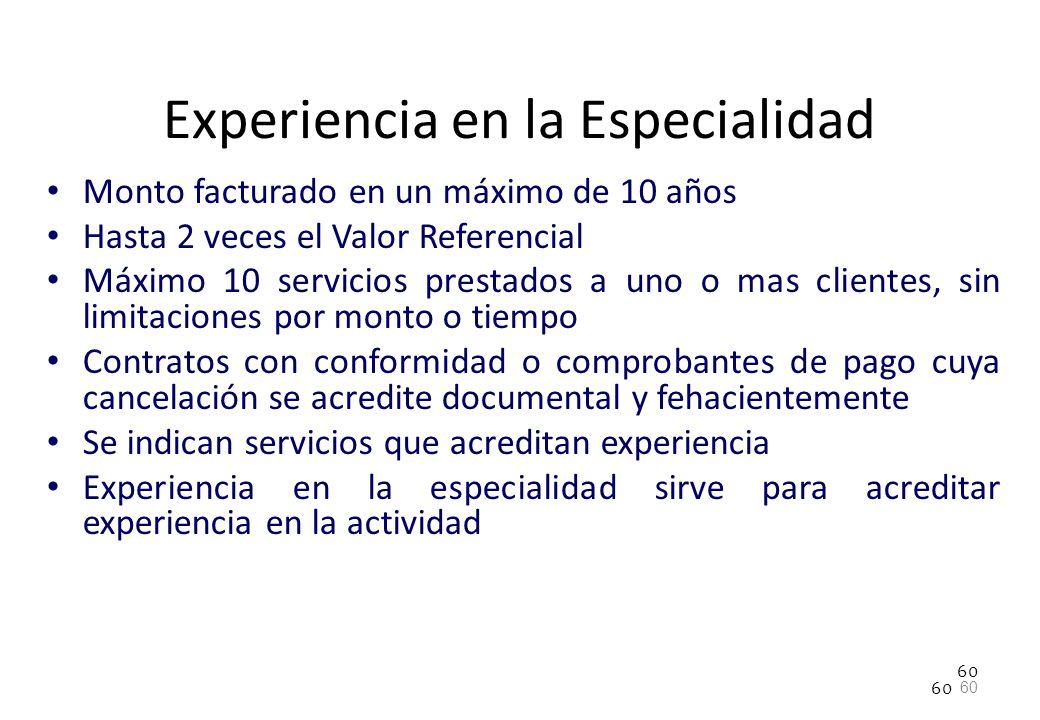 Experiencia en la Especialidad