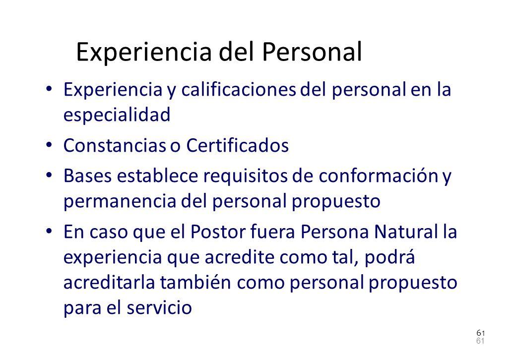 Experiencia del Personal