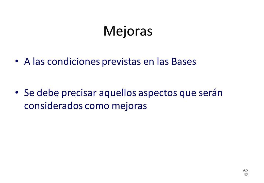 Mejoras A las condiciones previstas en las Bases
