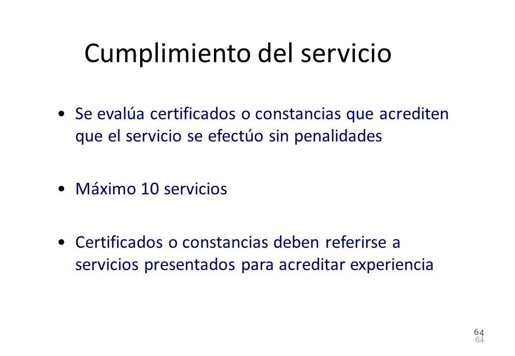 Cumplimiento del servicio