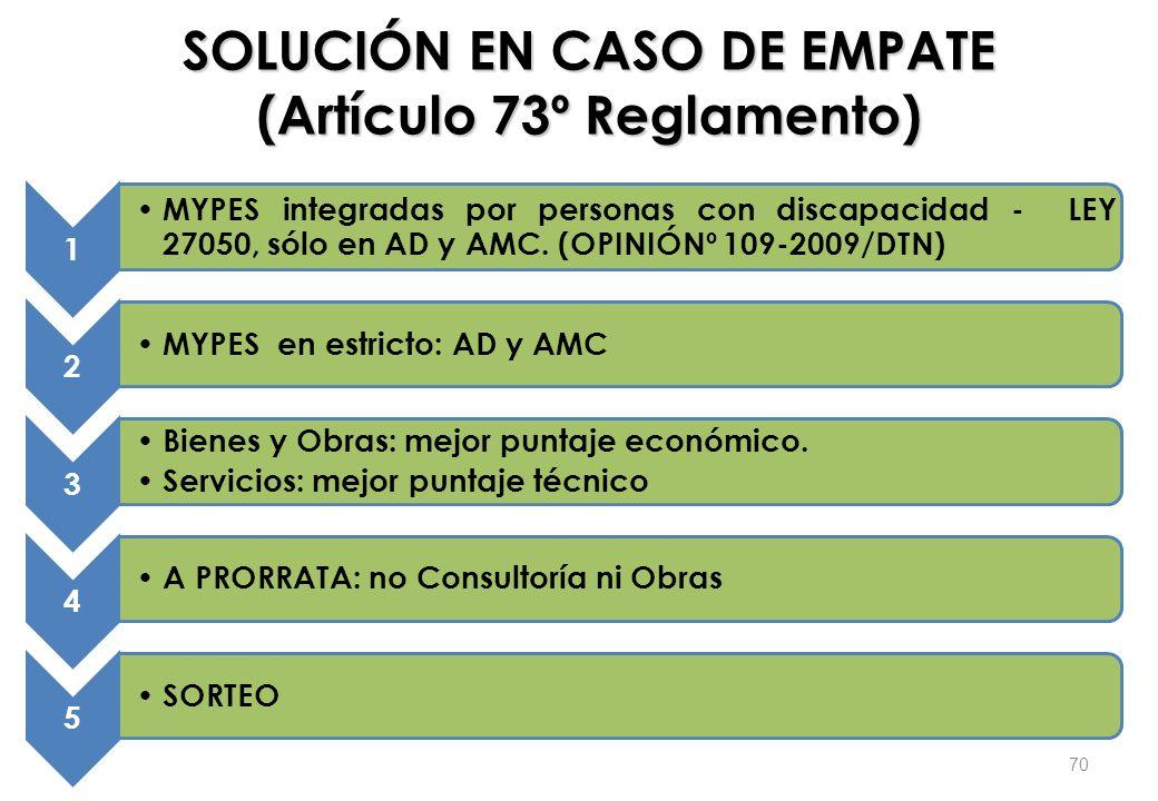 SOLUCIÓN EN CASO DE EMPATE (Artículo 73º Reglamento)