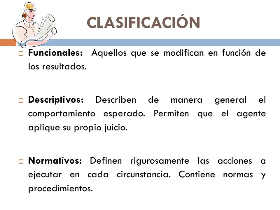 CLASIFICACIÓN Funcionales: Aquellos que se modifican en función de los resultados.
