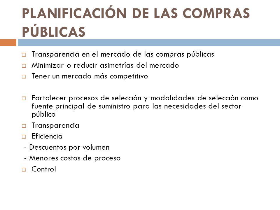 PLANIFICACIÓN DE LAS COMPRAS PÚBLICAS