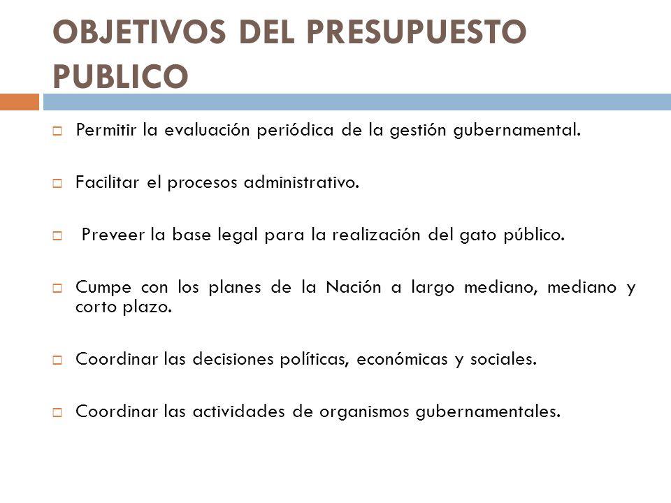 OBJETIVOS DEL PRESUPUESTO PUBLICO