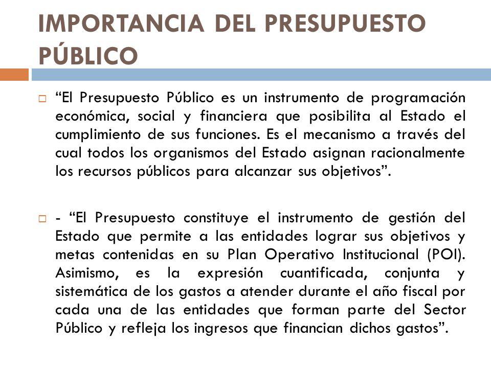 IMPORTANCIA DEL PRESUPUESTO PÚBLICO