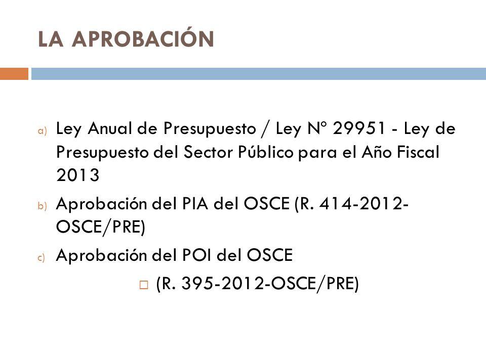 LA APROBACIÓN Ley Anual de Presupuesto / Ley Nº 29951 - Ley de Presupuesto del Sector Público para el Año Fiscal 2013.