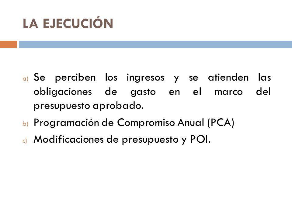 LA EJECUCIÓN Se perciben los ingresos y se atienden las obligaciones de gasto en el marco del presupuesto aprobado.