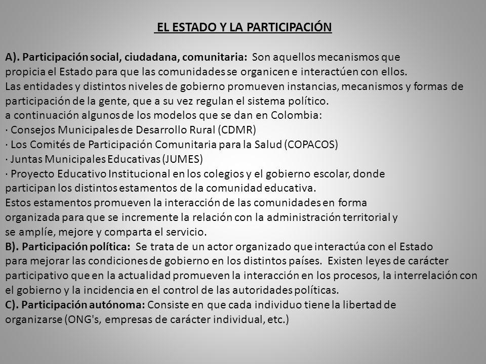 EL ESTADO Y LA PARTICIPACIÓN