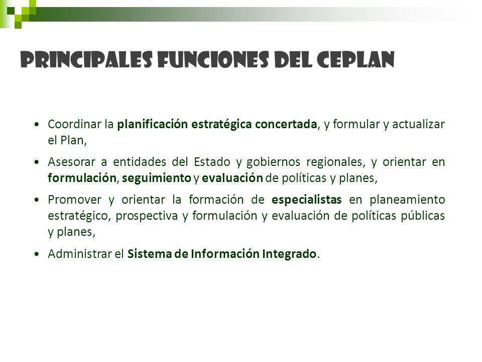 Principales funciones del CEPLAN