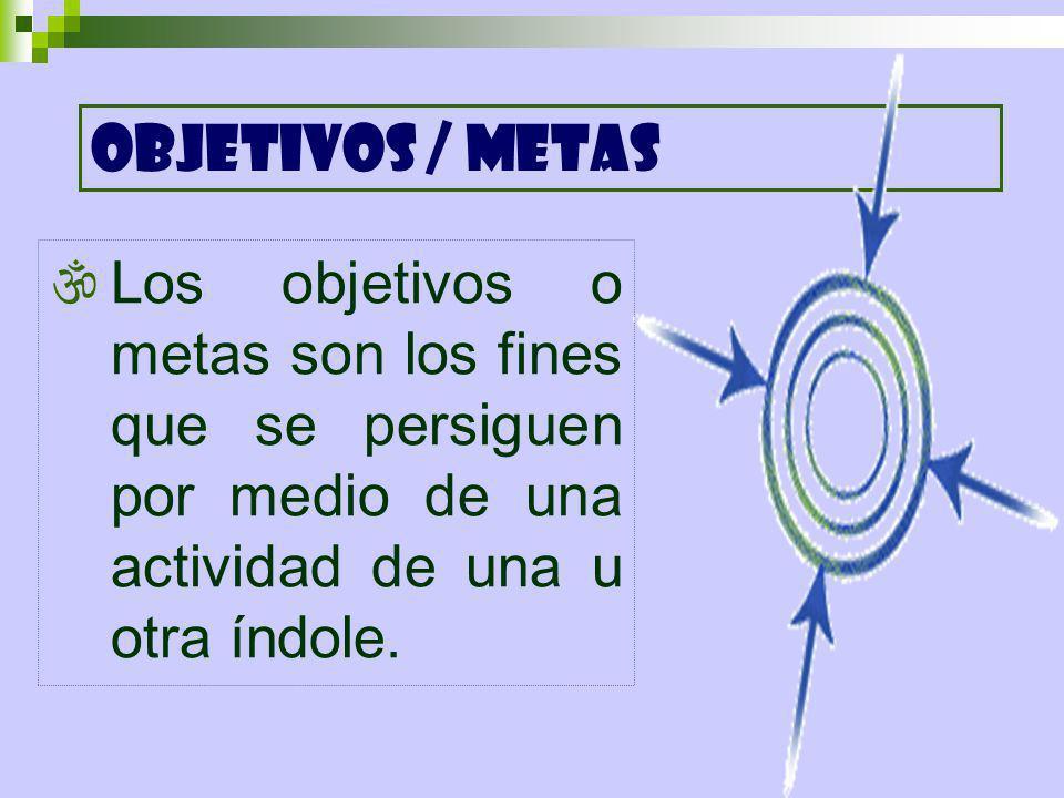 OBJETIVOS / METAS Los objetivos o metas son los fines que se persiguen por medio de una actividad de una u otra índole.