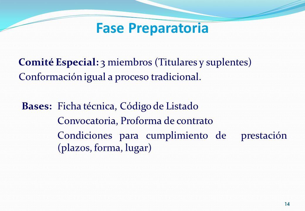 Fase Preparatoria Comité Especial: 3 miembros (Titulares y suplentes)
