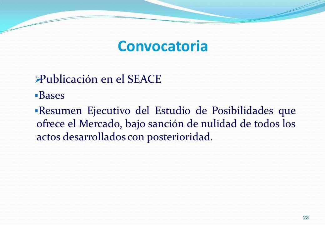 Convocatoria Publicación en el SEACE Bases