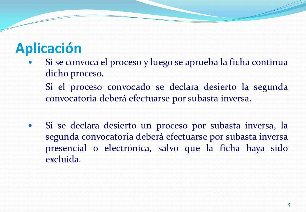 Aplicación Si se convoca el proceso y luego se aprueba la ficha continua dicho proceso.