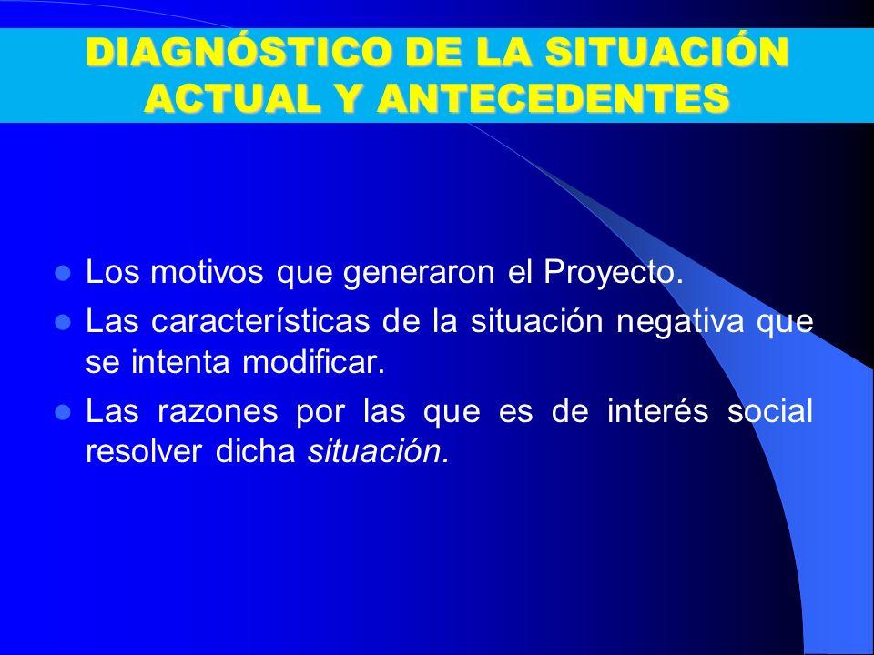 DIAGNÓSTICO DE LA SITUACIÓN ACTUAL Y ANTECEDENTES