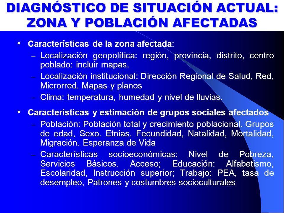 DIAGNÓSTICO DE SITUACIÓN ACTUAL: ZONA Y POBLACIÓN AFECTADAS