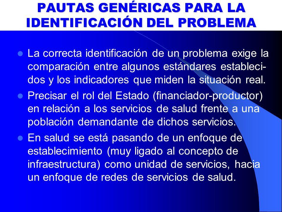 PAUTAS GENÉRICAS PARA LA IDENTIFICACIÓN DEL PROBLEMA