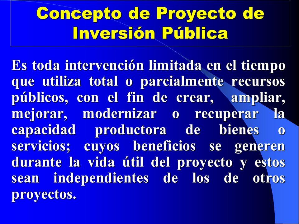 Concepto de Proyecto de Inversión Pública