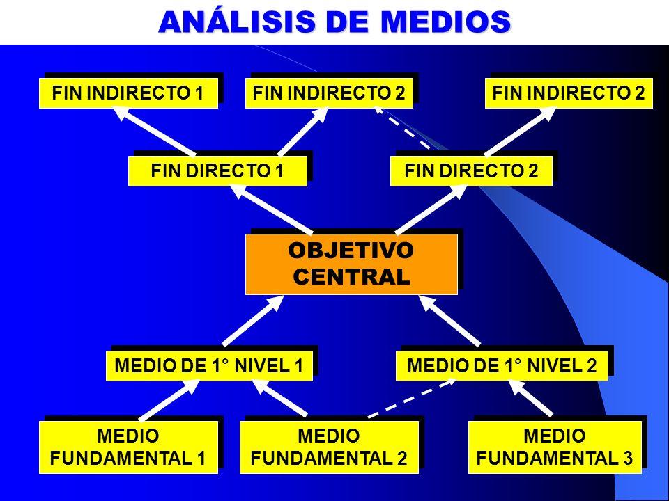 ANÁLISIS DE MEDIOS OBJETIVO CENTRAL FIN INDIRECTO 1 FIN INDIRECTO 2
