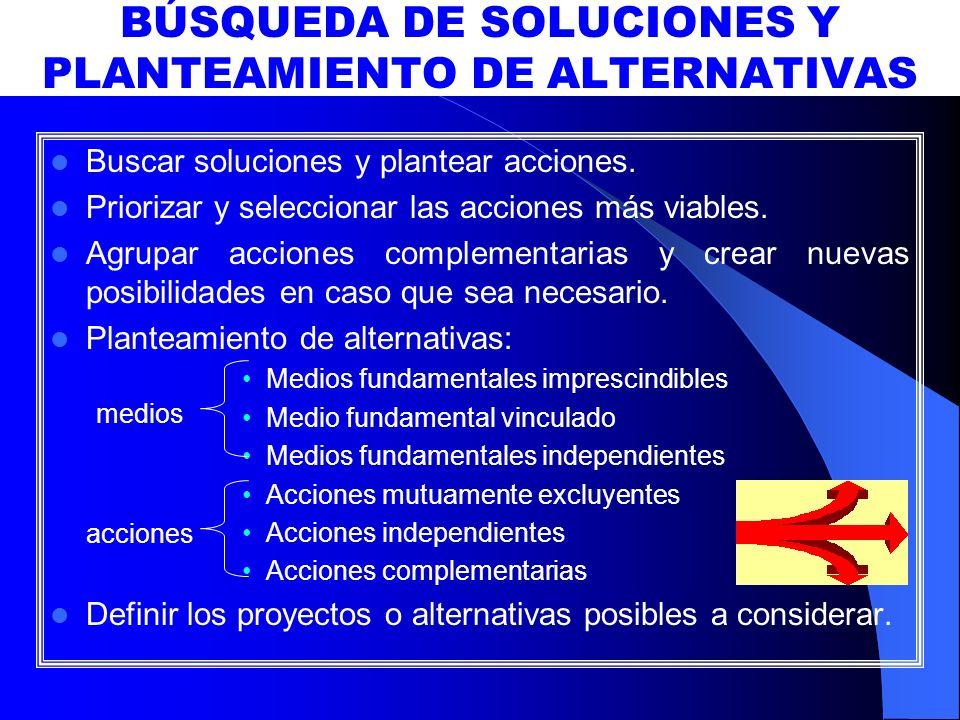 BÚSQUEDA DE SOLUCIONES Y PLANTEAMIENTO DE ALTERNATIVAS