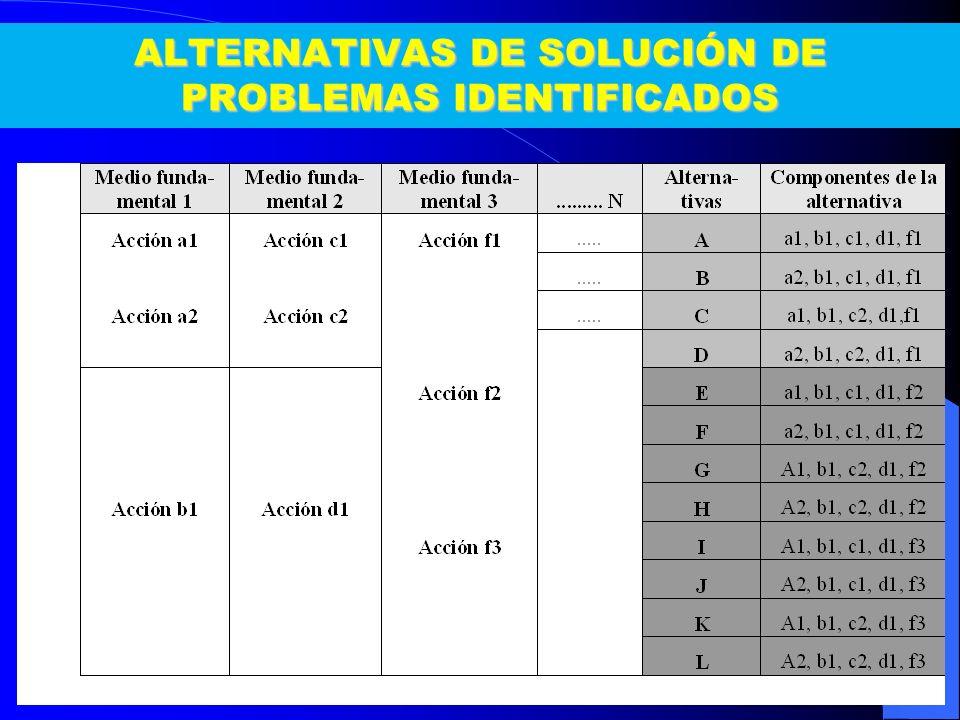 ALTERNATIVAS DE SOLUCIÓN DE PROBLEMAS IDENTIFICADOS