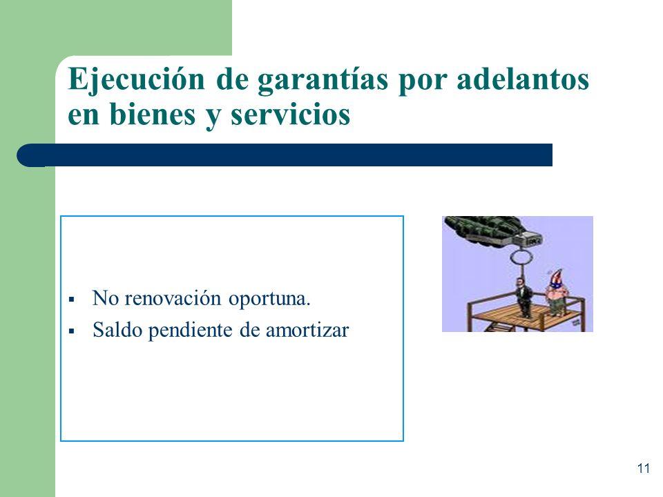 Ejecución de garantías por adelantos en bienes y servicios