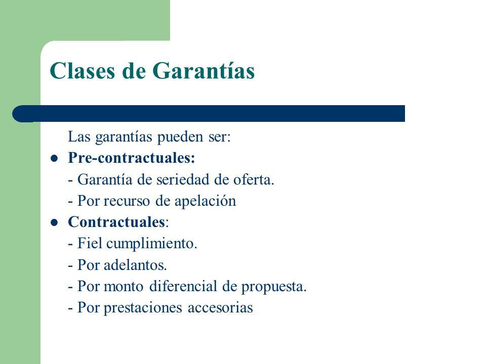 Clases de Garantías Las garantías pueden ser: Pre-contractuales: