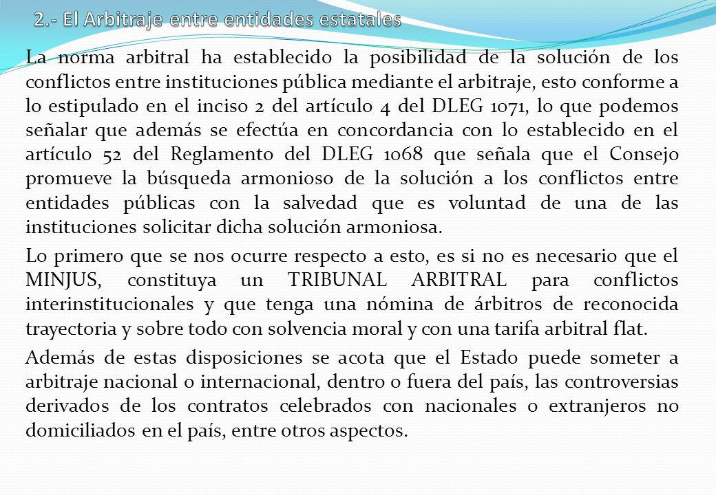 2.- El Arbitraje entre entidades estatales